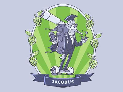 Jacobus hop telescope pipe sandwich board hover craft label beer