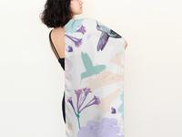 Hummingbird long silk scarf illustrations