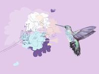 Lavender Hummingbird Illustration