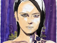 Fashion illustration purple and gold woman.
