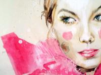 Karlie Kloss fashion illustration, portrait
