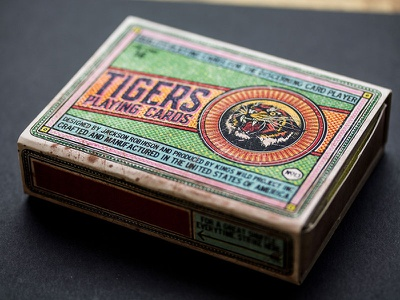Kings Wild Tigers Playing Card destressed vintage halftone matchbox package design playing cards