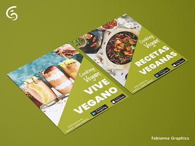 Cooking Vegan mobile game mobile app veganism vegan food vegan art vegan flyer artwork flyer design flyer design graphic design