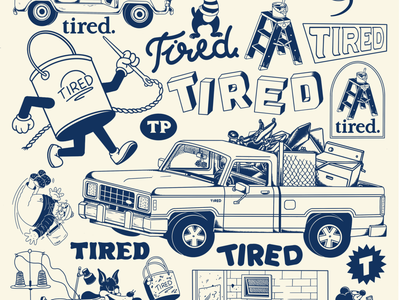 Tired Projects typography illustration design