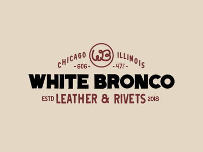 White Bronco branding typography illustration design
