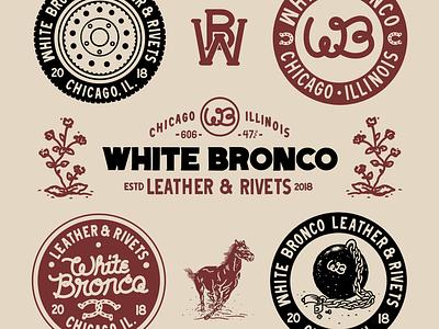 White Bronco branding typography illustration design