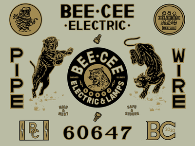 BEE CEE Electric branding typography illustration design