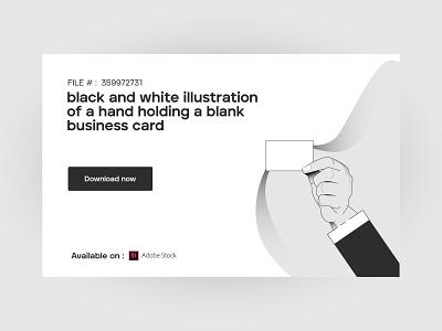 black and white illustration of a hand holding a blank business card hold hand landing digital blackandwhite web design web app brand clean geometric vector ux ui minimalist design illustration