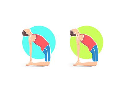 yoga position yoga app yoga pose color fitness sport yoga minimalist clean ui ux vector illustration