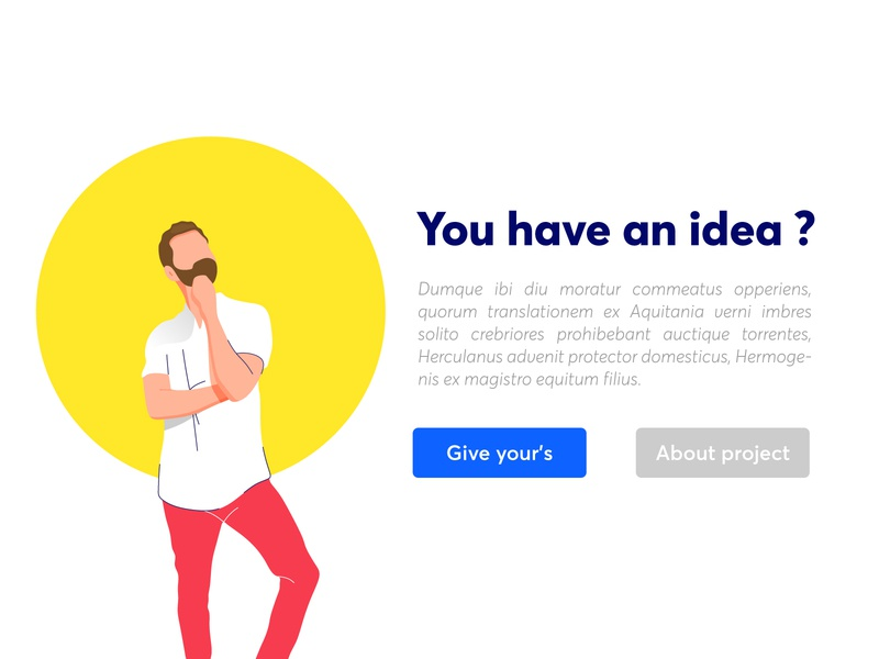 You have an idea thinking man character web icon app branding brand clean minimalist ux vector ui illustration