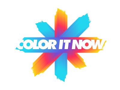 Color It Now identity logo unused wordmark powerfull art move run paint splash color