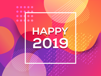 Happy 2019 minimalist identity clean logo brand branding geometric design vector abstract illustration 2019 year new happy fluid liquid background