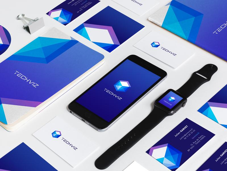 Techviz Identity tech stratup monogram monochrome minimalist mark logo identity icon geometric digital design clean branding brand cube 3d abstract