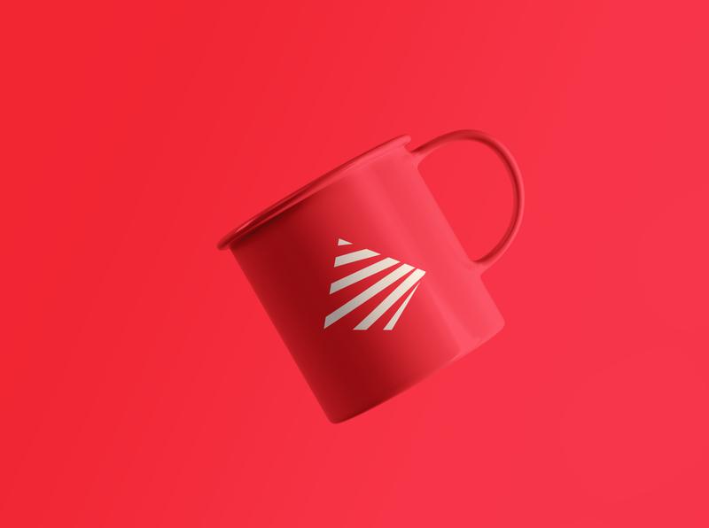 Floating Tea Cup Mockup pyramid monogram minimalist mark manufacture logo geometric design clean branding brand abstract