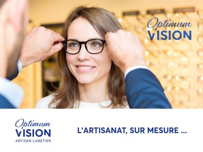 Optimum Vision Identity lunetier artisan manufacturer eyewear clean branding identity minimalist brand design logo