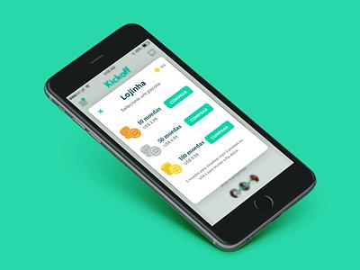 Kickoff - Lojinha modal pop-up dating app mobile app ui monetization kickoffapp