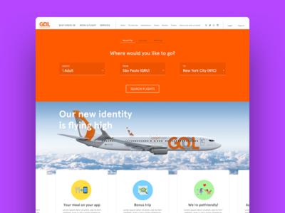 Home Screen redesign - Gol Linhas Aéreas identity gol flight website cards flat ui redesign