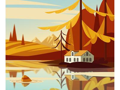 осенний пейзаж vector illustration горы деревья озеро лес дом природа осенний пейзаж осень