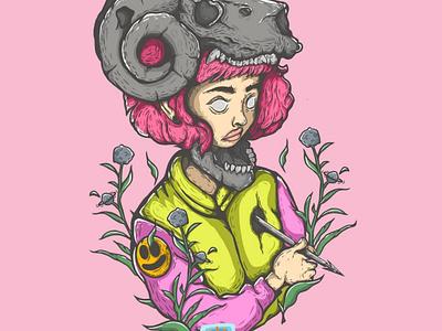 women and bone ilustration graphic design