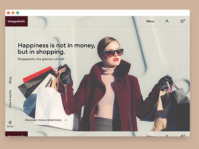 Shoppaholic e-commerce landing page. copywriter productdesign shopping ecommercewebsite wbsitedesign contentstrategy contentdesign illustration typography ux vector branding design design figmaafrica
