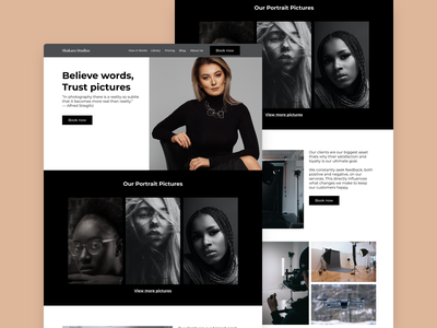 Shakara Studios (Photography Website) userexperiencedesign uxui ui interactiondesign hero section heropage photographylandingpage webflowdesigner designer contentstrategy contentdesign design typography branding design branding figmaafrica