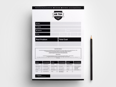 Pest Control Invoice grid clean greyscale paper boxed blocks identity branding a4 invoice black and white