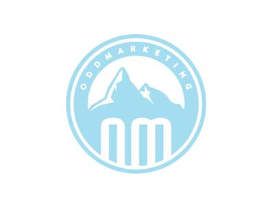 Odd Marketing logo branding digital marketing odd circle vector icon mountains blue ice ligature