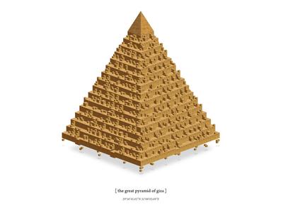 Pyramid of Giza giza illustration triangle block floating old pyramid egypt stone digital egyption minimalism