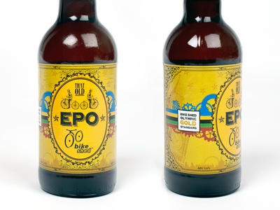 That Old 'EPO' retro design bottle victorian bicycle beer olympics cycle label bike epo cogs