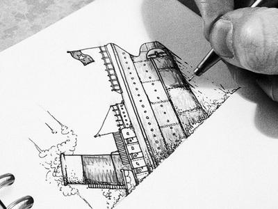 WIP - Titanic design sketch ink sea wip boat pencil titanic drawing ship pen staedtler
