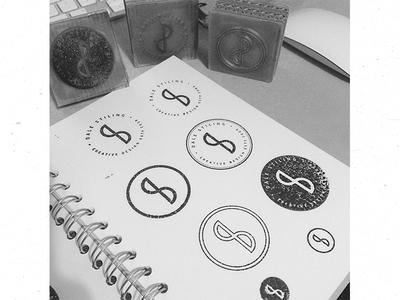 DS Design stamps ligature stamp icon ink symbol brand texture type circle logo minimal paper