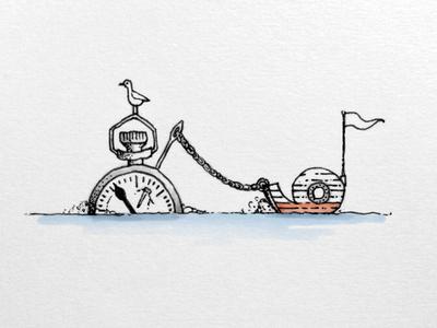Saving 9 sea time 9 pencil pen sketch drawing illustration