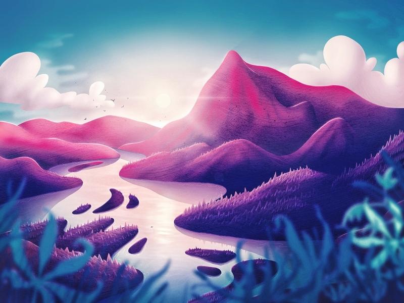 River Illustration sun reflections water island sky forest river landscape nature procreate illustration art