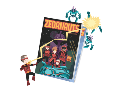 Zeda Labs Comic Book Promo Image laser geometric retro machine space alien robot superbug bug superhero zeda labs comic book