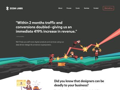 Zeda Labs homepage ui ux design space superhero revenue conversion geometric illustration vector website homepage