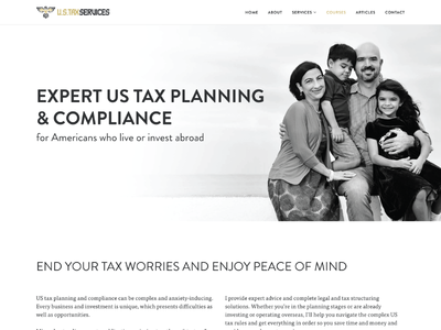 Us Tax Services Homepage website header black white planning branding ux homepage lawyer belize us tax