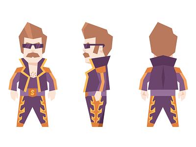 The Spark - comic book character hip designer fire flames elvis character sheet geometric flat character book comic sparky