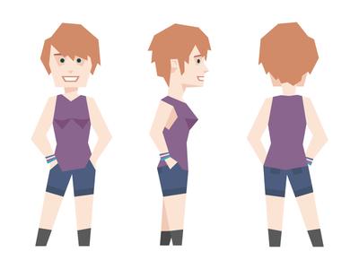 Quinn - CEO of Zeda Labs female purple pose flat polygon geometric character sheet character comic