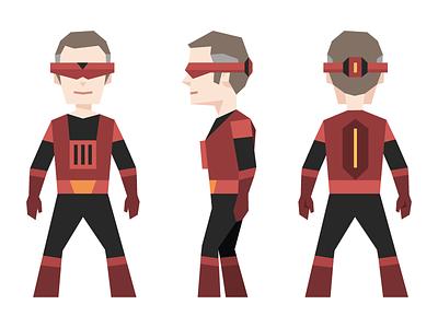 Zenith - Piotr's superhero alter ego sci fi person tech costume flat geometric polygon character superhero