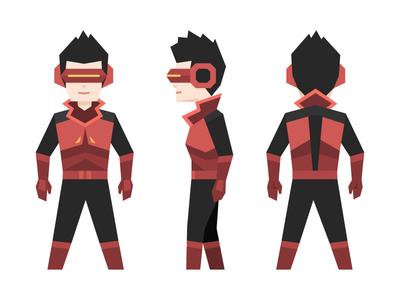 Patch - Henry's superhero alter ego futuristic geometric character illustration goggles black red superhero