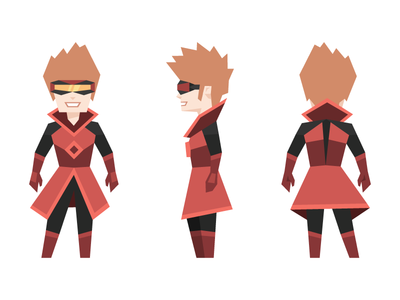 Link - Quinn's superhero alter ego futuristic geometric character illustration goggles black red superhero
