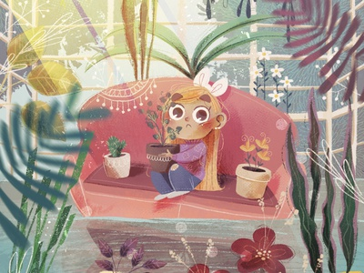 Ops! water botanical garden plants girl art procreate illustration digital painting digital art digitalart digital childrens illustration children book illustration children