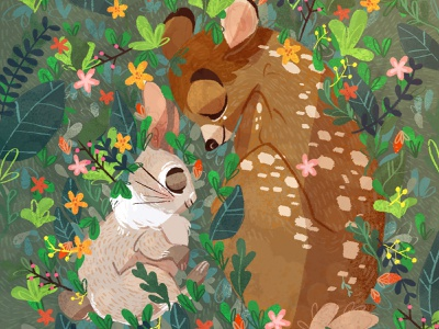 Bambi & Bunny animal flowers friends plant bunny bambi art procreate illustration digital painting digital art digitalart digital childrens illustration children book illustration children