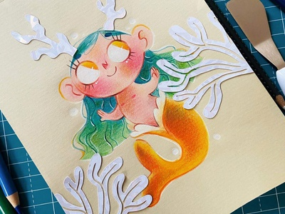 Pencil Illustrations! Mermaid kraft paper kraftpaper pencil mermaid girl art illustration childrens illustration children book illustration children