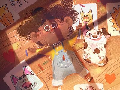 Dreams sun window doodles drawings pet character dog girl art digital procreate digital painting digital art digitalart childrens illustration children book illustration illustration children