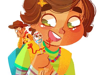 Bonnie disney pixar girl toys bonnie forky woody toystory fanart characterdesign childrens illustration digital procreate digital painting digital art digitalart illustration children