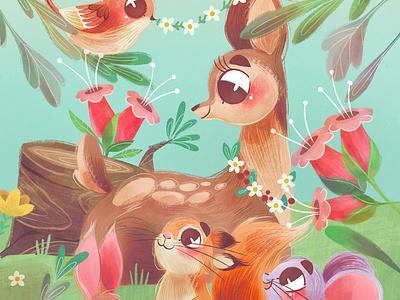 Cute Animals friends cute mouse birds bunny bambi forest animals art children book illustration childrens illustration digital procreate digital painting digital art digitalart illustration children