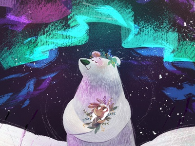 Lullaby Lights song night boreal lights lullaby snow bear concept art children book illustration childrens illustration digital procreate digital painting digital art digitalart illustration children