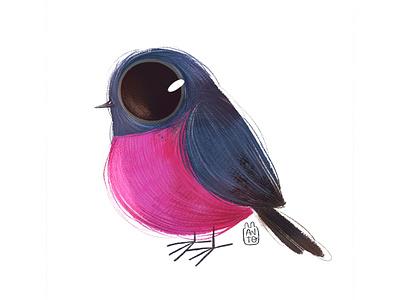 Cute Birds: Pink Robin cute robin pink bird art childrens illustration digital procreate digital painting digital art digitalart illustration children