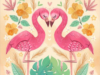 Flamingos in Love pattern love flamingos art children book illustration childrens illustration digital procreate digital painting digital art digitalart illustration children